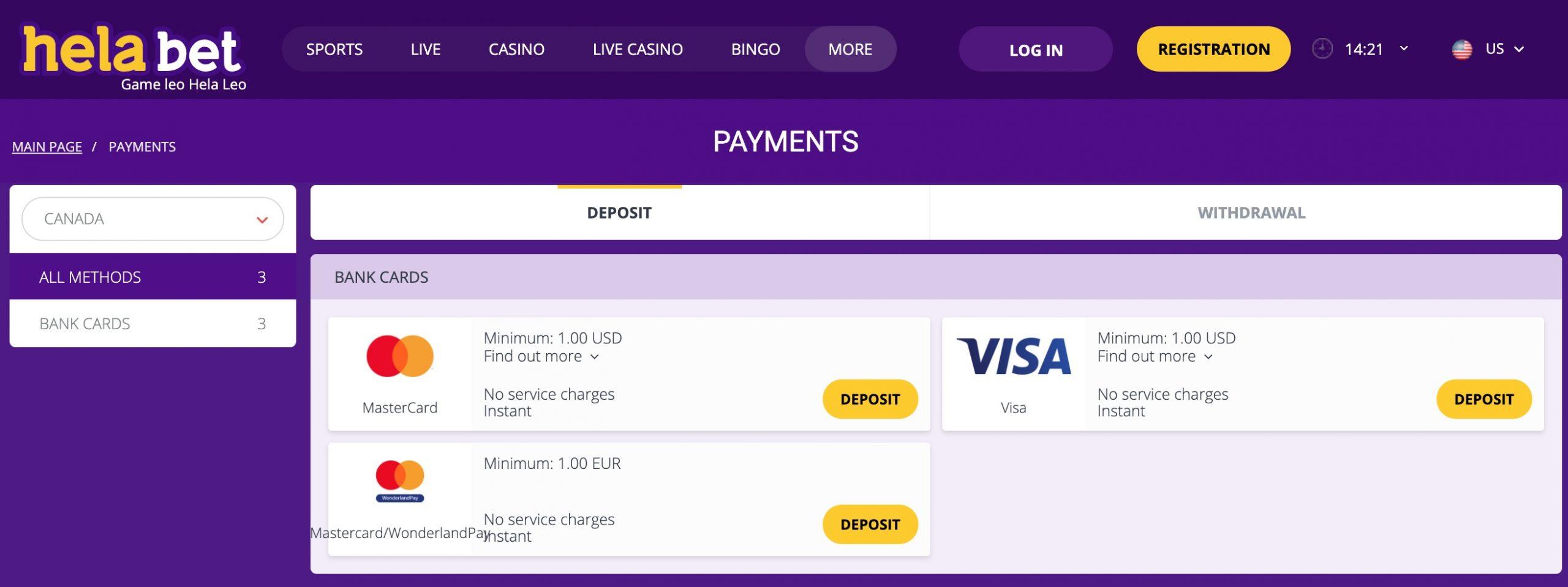 Helabet payments deposit
